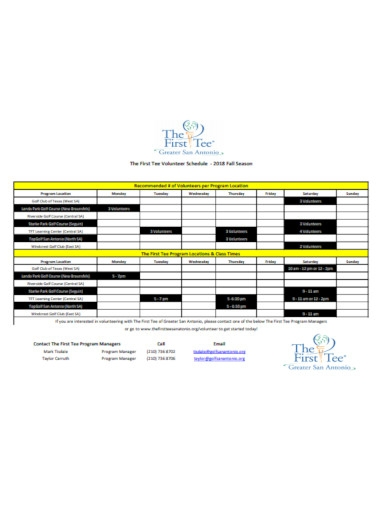 the first volunteer schedule