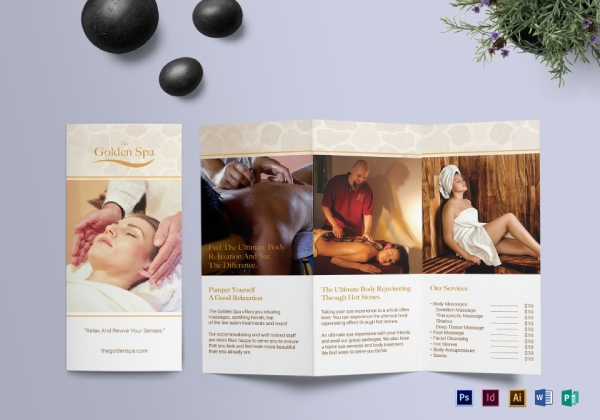 the golden spa trifold brochure