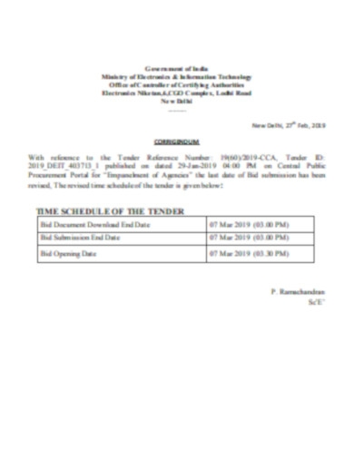 time schedule of the tender