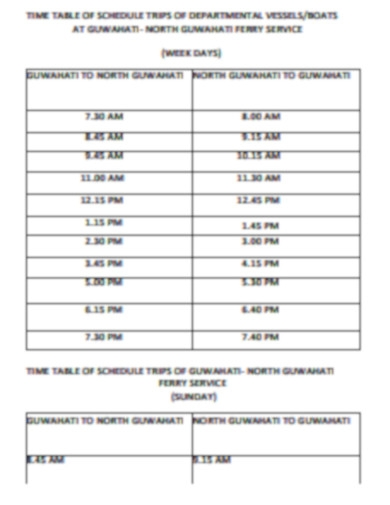 time table of schedule trips of department vessels