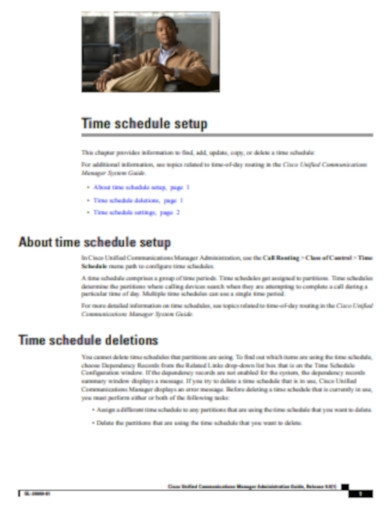 time schedule setup