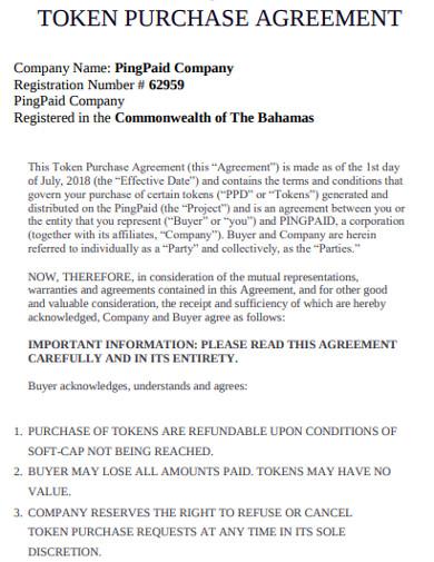 token purchase agreement