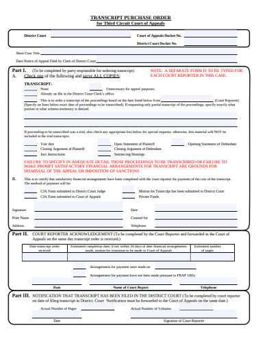 transcript purchase order form