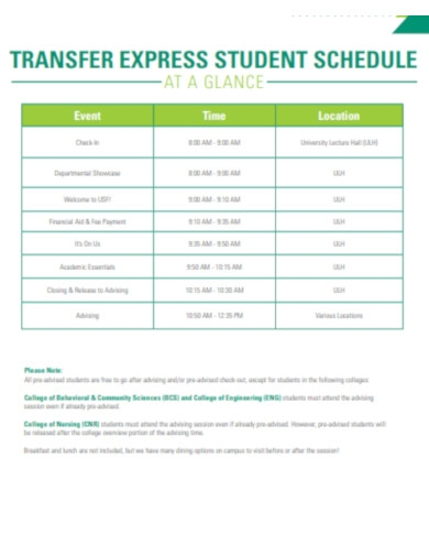 transfer express student schedule
