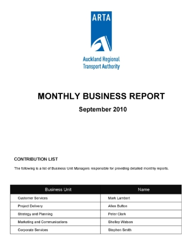 transport monthly business report