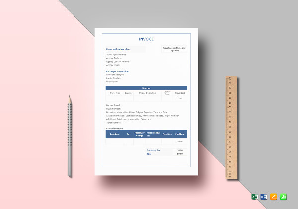 travel agency invoice templates