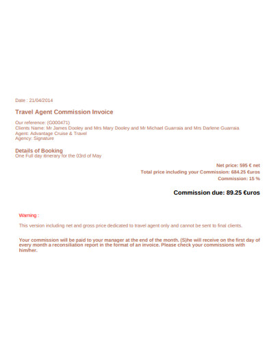 travel agent commission invoice