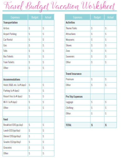 travel budget vacation worksheet