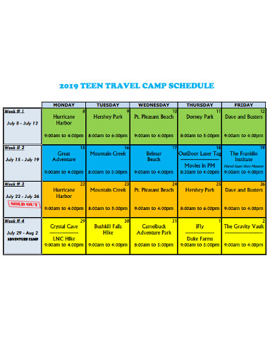 travel camp schedule