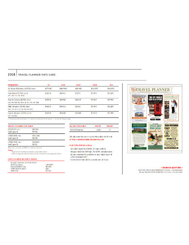 travel planner rate card