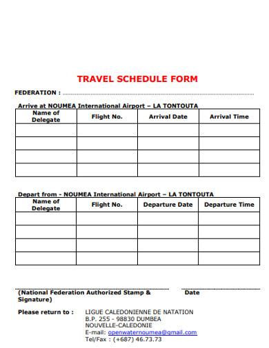 travel schedule form