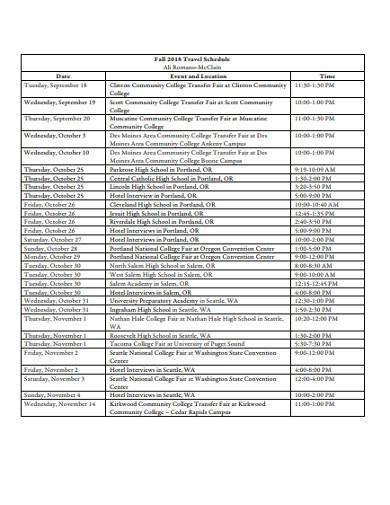 travel schedule in pdf
