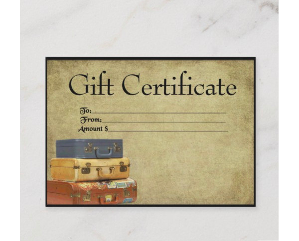 traveling suitcases prim gift certificate