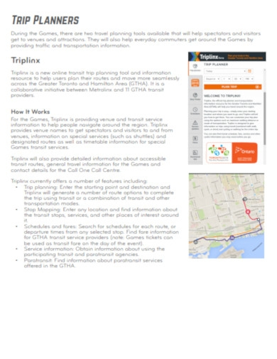 trip planners in pdf