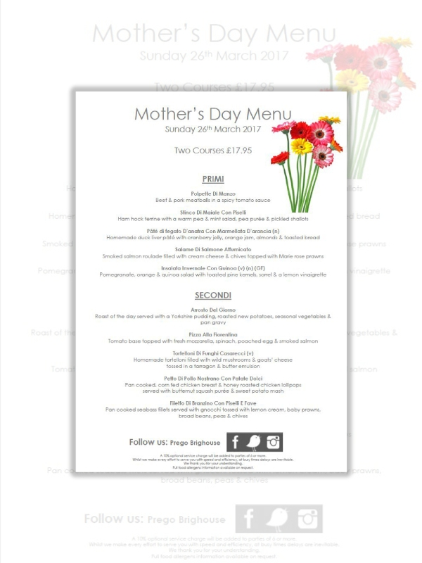 two course mothers day menu