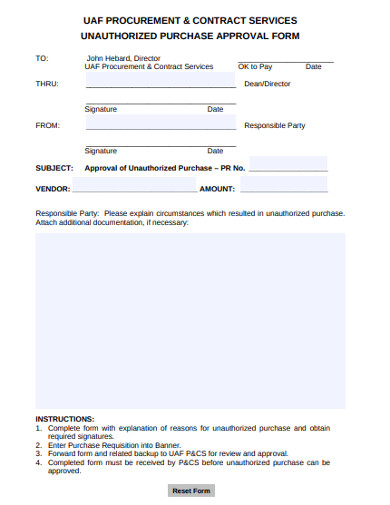 unauthorized purchase approval form