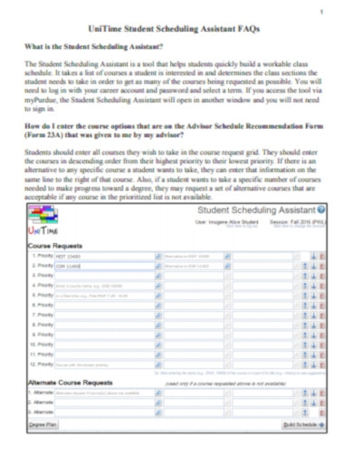 unitime student scheduling assistant
