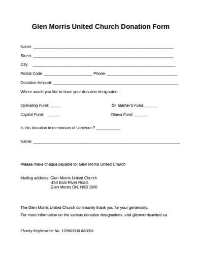 united church donation form