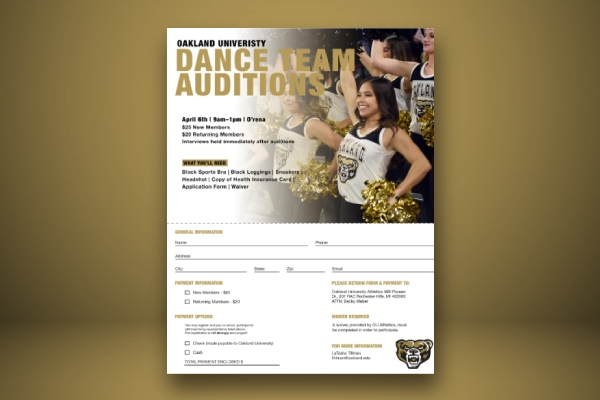 university team dance audition flyer