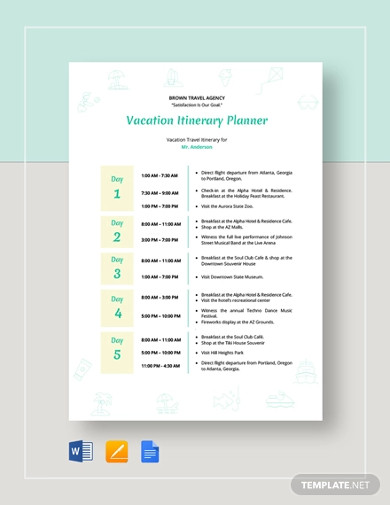 vacation itinerary planner templates