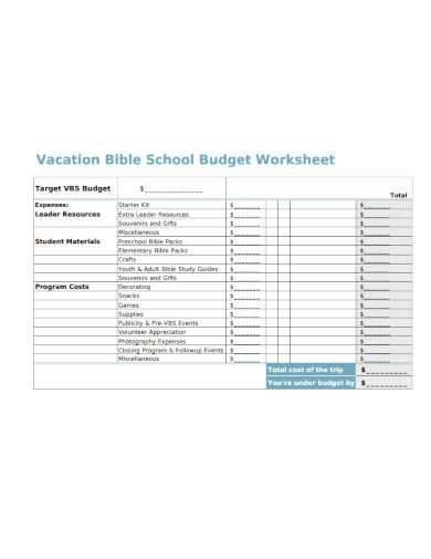 vacation school budget worksheet