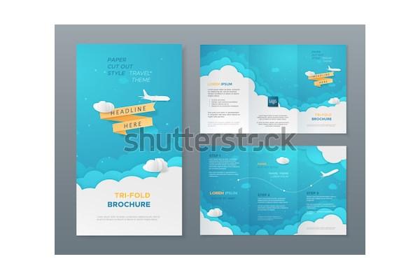 vector travel tri fold brochure flyer
