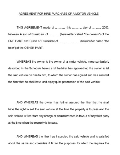 vehicle hire purchase agreement