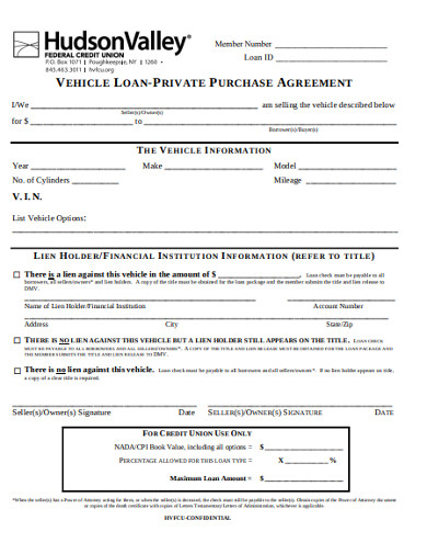 vehicle loan purchase agreement