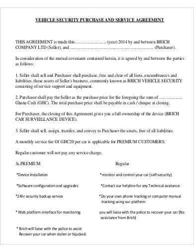 vehicle security purchase and service agreement1
