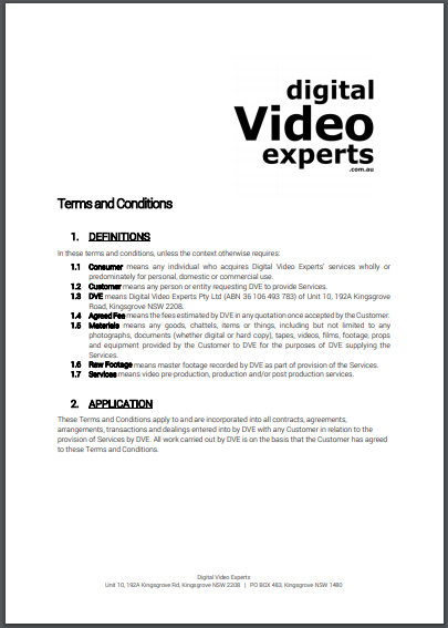 video digital experts contract
