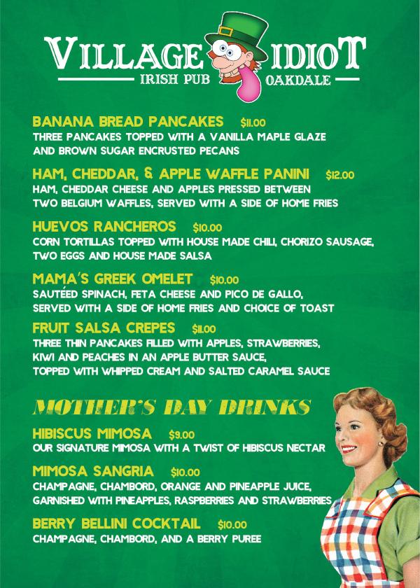 vintage mothers day menu