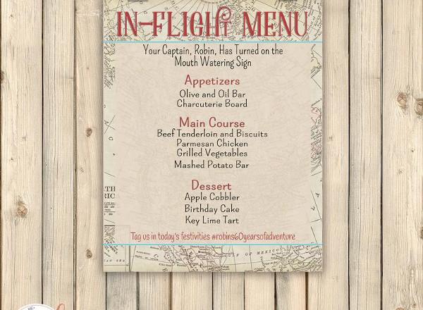 vintage travel airplane menu card
