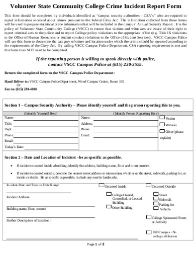 volunteer crime incident report form