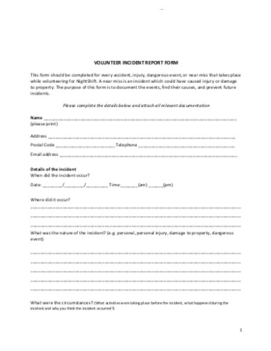 volunteer incident report form in examples