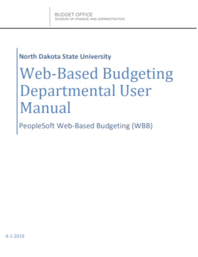 web based budgeting department