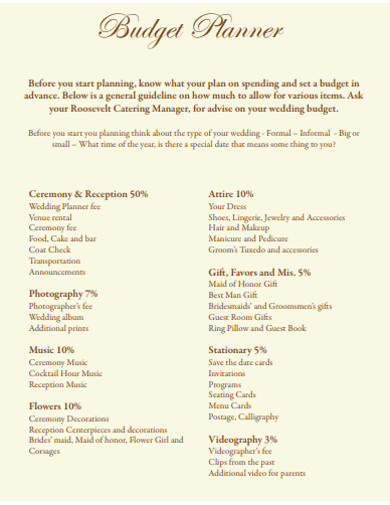 wedding budget planners