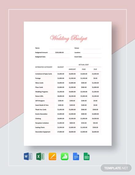 wedding budget template