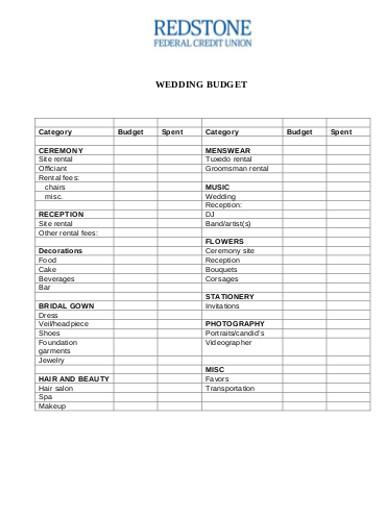 wedding budget in pdf