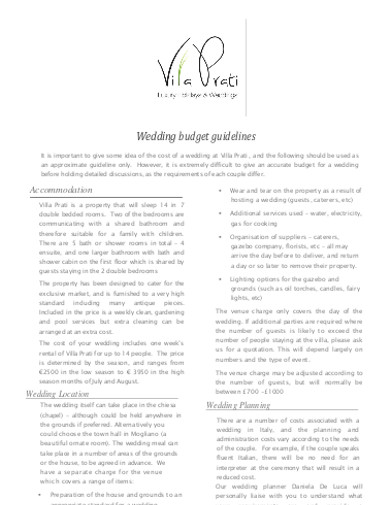 wedding budget guidelines