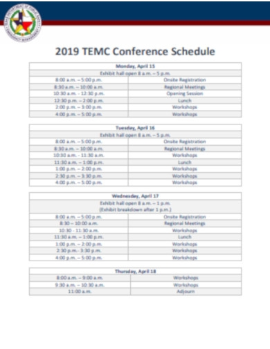 weekly conference schedule
