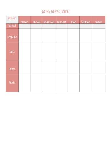 weekly fitness planner sheet