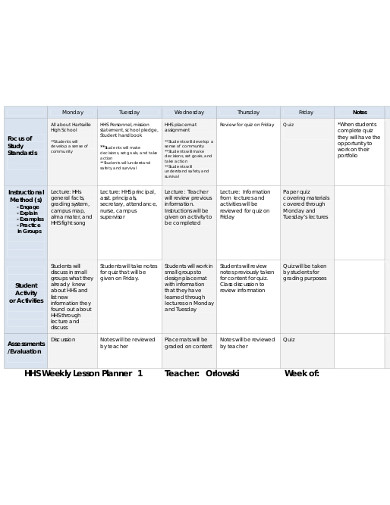 weekly lesson teacher planner