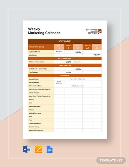 weekly marketing calendar template