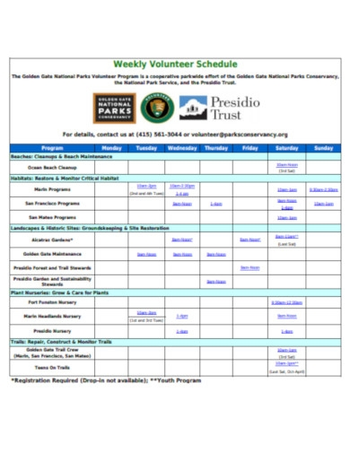 weekly volunteer schedule