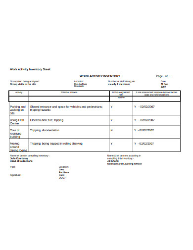 work activity inventory sheet