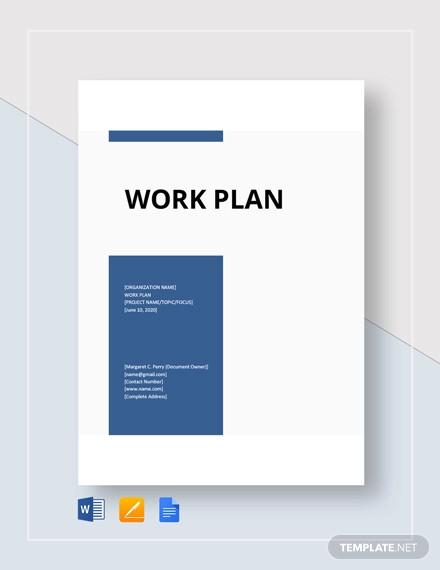 work plan format template