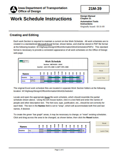 work schedule instructions
