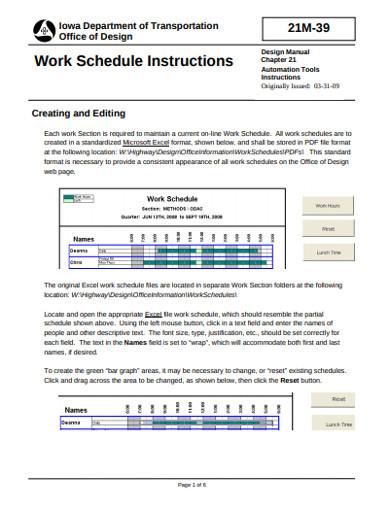 work schedule instructions