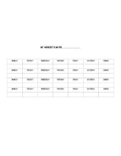 workout planner example