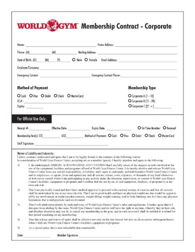 world gym membership contract